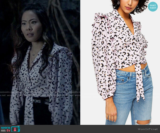 Topshop Pink Animal Print Frill Tie Blouse worn by Mary Hamilton (Nicole Kang) on Batwoman