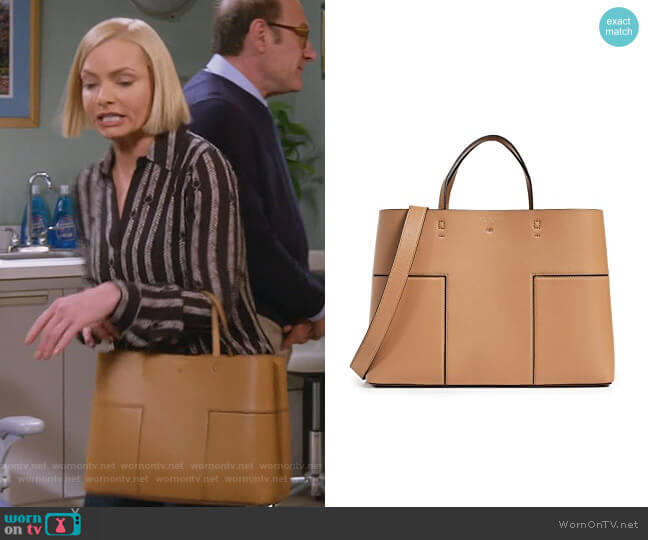 Block-T Triple-Compartment Tote by Tory Burch worn by Jill Kendall (Jaime Pressly) on Mom