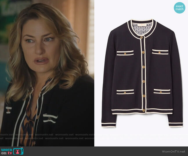 Kendra Cardigan by Tory Burch worn by Alice Cooper (Mädchen Amick) on Riverdale