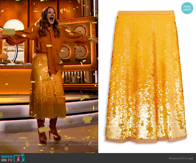 Sequin Embellished Skirt by Tory Burch worn by Drew Barrymore  on The Drew Barrymore Show