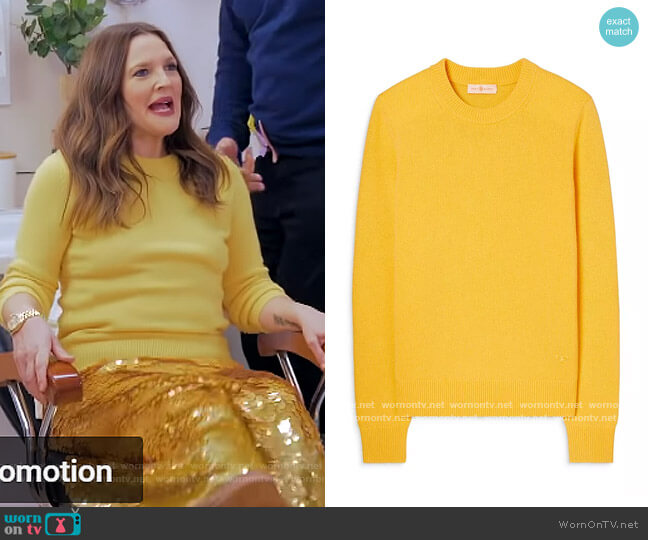 Cashmere Sweater With Sequins by Tory Burch worn by Drew Barrymore  on The Drew Barrymore Show