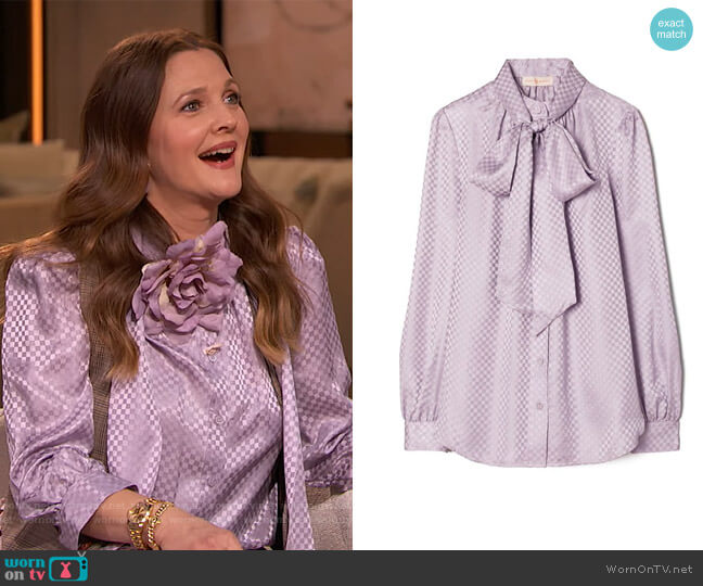 Textured Bow Blouse by Tory Burch worn by Drew Barrymore  on The Drew Barrymore Show