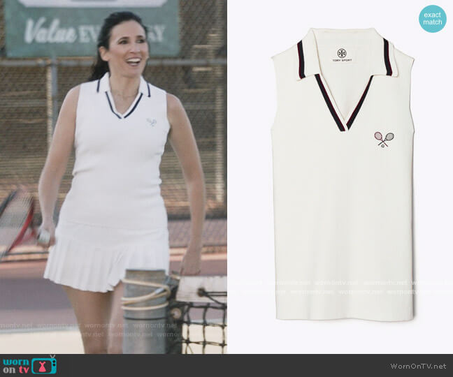 Racquet Ribbed Knit Sleeveless Polo by Tory Sport worn by Delia (Michaela Watkins) on The Unicorn