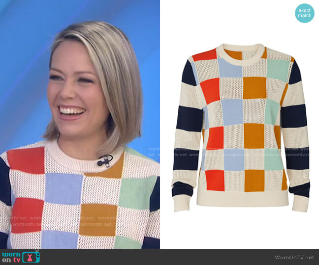 Checkered Pullover Sweater by Troy Sport worn by Dylan Dreyer  on Today