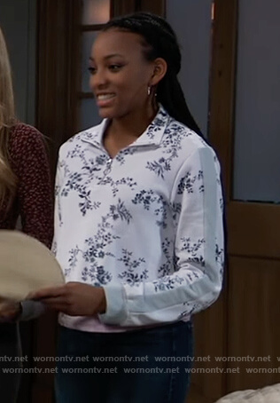 Trina's white floral print sweatshirt on General Hospital