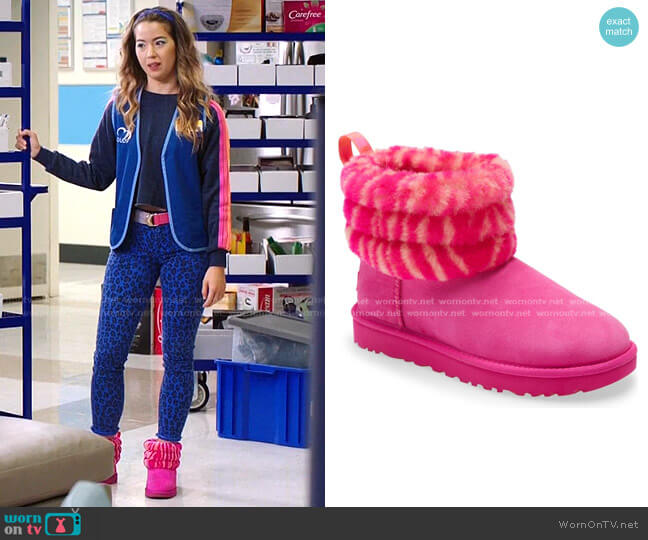 Mini Fluff Quilted Animal Print Boot by Ugg worn by Cheyenne (Nichole Bloom) on Superstore
