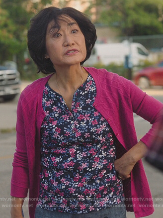 Umma's blue floral print blouse on Kims Convenience