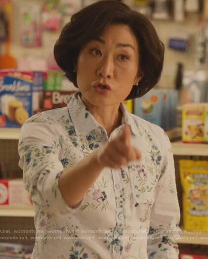 Mrs Kim's white floral top on Kims Convenience