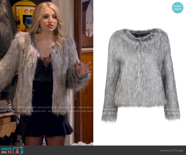 Unreal Fur Fire & Ice Jacket worn by Gina Dabrowski (Annaleigh Ashford) on B Positive