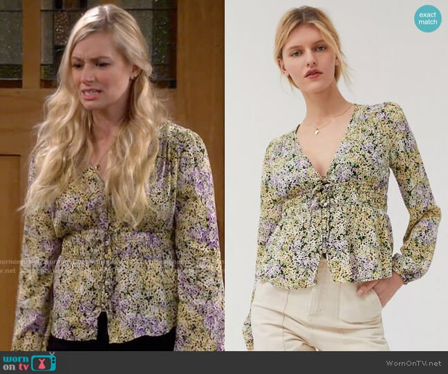 UO Hannah Button-Front Blouse worn by Gemma (Beth Behrs) on The Neighborhood