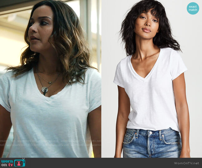 Jilian V Neck Tee by Velvet worn by Jessica Lucas on The Resident