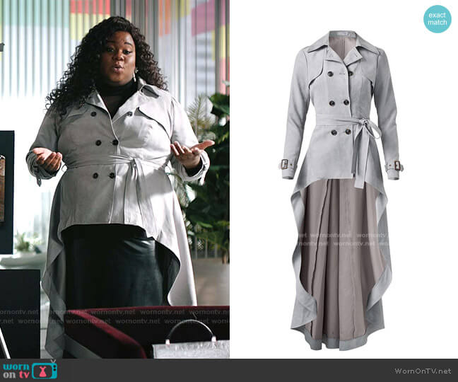 Plus Size Faux Suede Trench Coat by Venus worn by Mo (Alex Newell) on Zoeys Extraordinary Playlist