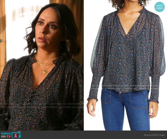Jaz Floral Balloon Sleeve Chiffon Blouse by Veronica Beard worn by Maddie Kendall (Jennifer Love Hewitt) on 9-1-1