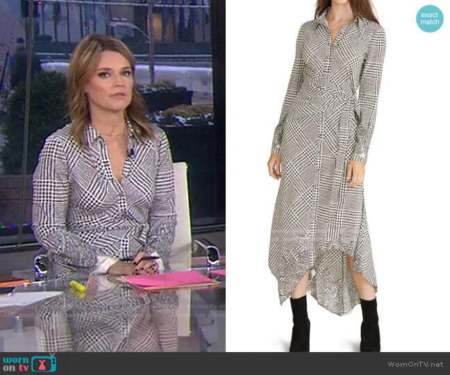 Ondine Houndstooth Wrap Dress by Veronica Beard worn by Savannah Guthrie  on Today