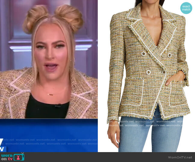 Theron Tweed Double-Breasted Jacket by Veronica Beard worn by Meghan McCain  on The View
