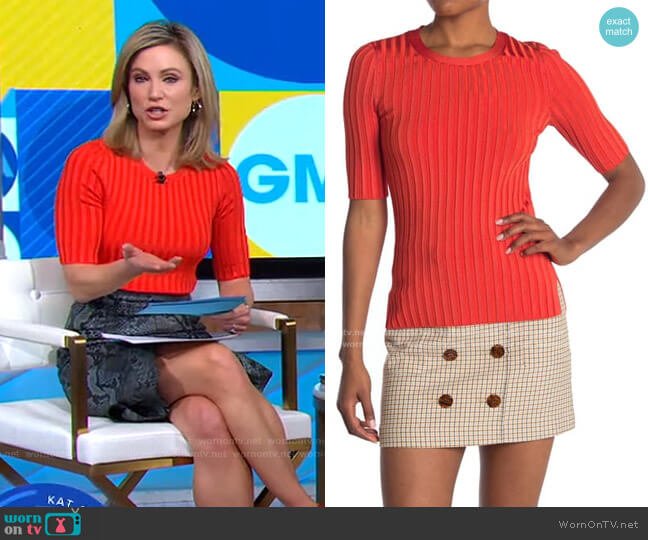Dillon Ribbed Crew Neck Sweater by Veronica Beard worn by Amy Robach  on Good Morning America