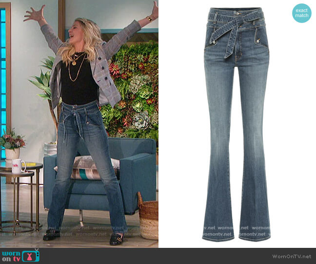 Giselle high-rise flared jeans by Veronica Beard worn by Amanda Kloots  on The Talk