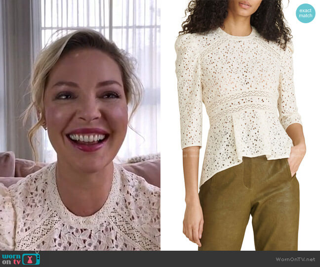 Mayme Lace Top by Veronica Beard worn by Katherine Heigl on Today