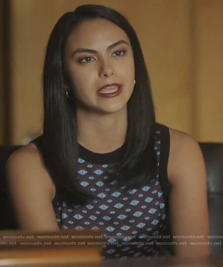Veronica's geometric print top on Riverdale