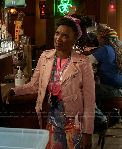 Veronica's pink moto jacket and tie dye jeans on Shameless