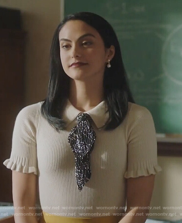 Veronica's white metallic tie neck sweater on Riverdale
