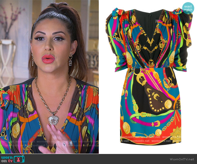 Barocco Rodeo print mini dress by Versace worn by Jennifer Aydin  on The Real Housewives of New Jersey