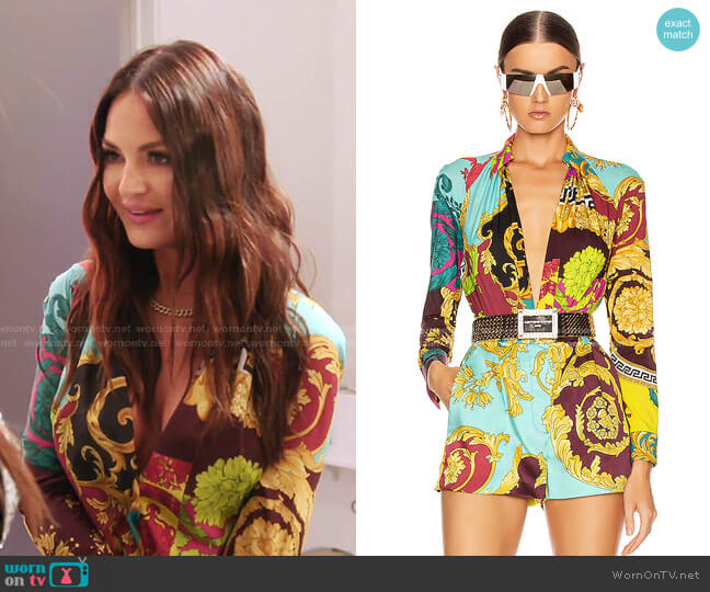 Print Bodysuit by Versace worn by Lisa Barlow  on The Real Housewives of Salt Lake City