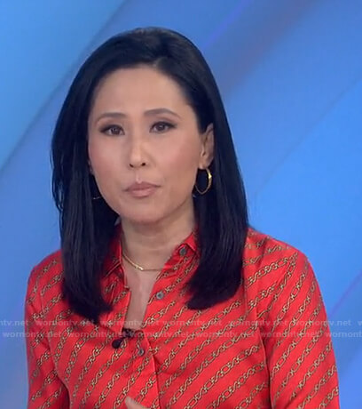 Vicky's orange chain print blouse on Today