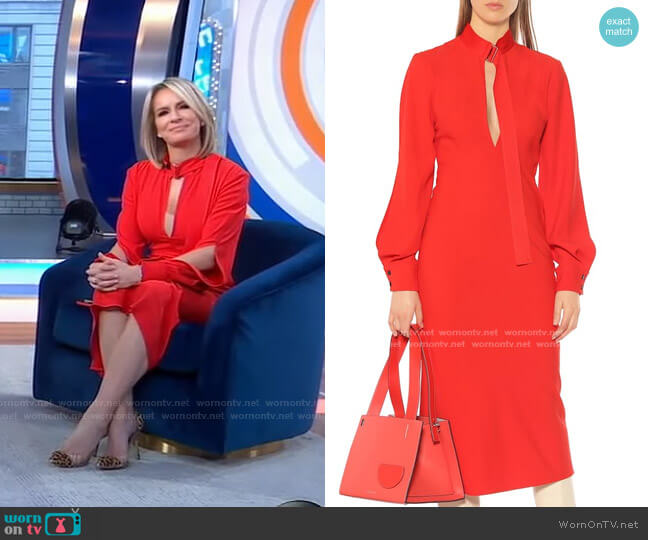 Crepe Midi Dress by Victoria Beckham worn by Dr. Jennifer Ashton  on Good Morning America