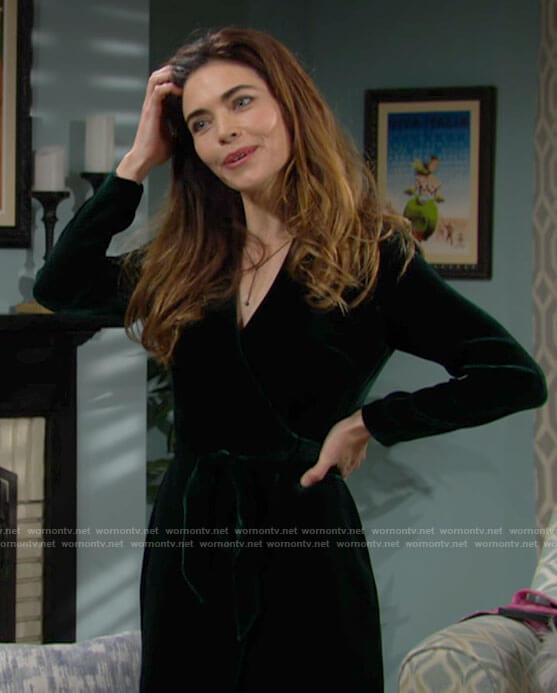 Victoria's green velvet midi wrap dress on The Young and the Restless