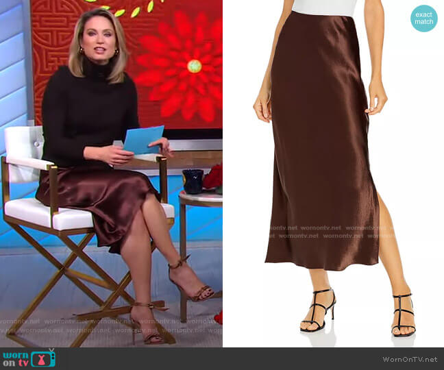 Satin Side Slit Slip Maxi Skirt by Vince worn by Amy Robach  on Good Morning America