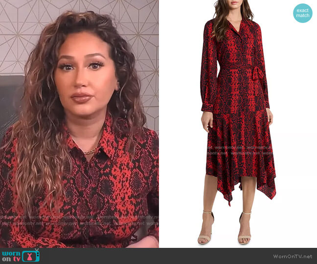 Asymmetric Snake Print Shirt Dress by Vince Camuto worn by Adrienne Houghton  on The Real