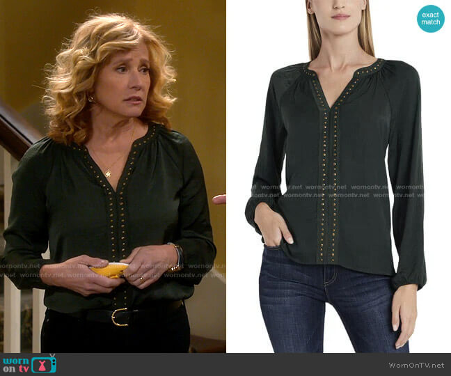 Long Sleeve Stud Trim Blouse by Vince Camuto worn by Vanessa Baxter (Nancy Travis) on Last Man Standing