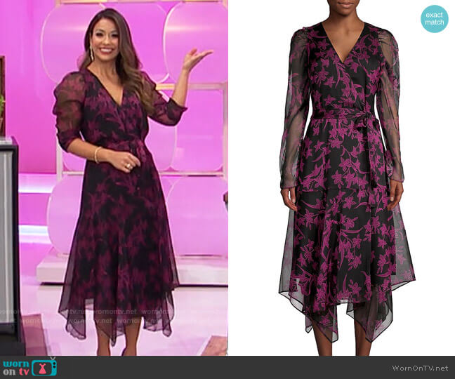 Vince Camuto Floral Handkerchief Midi Wrap Dress worn by Manuela Arbeláez  on The Price is Right