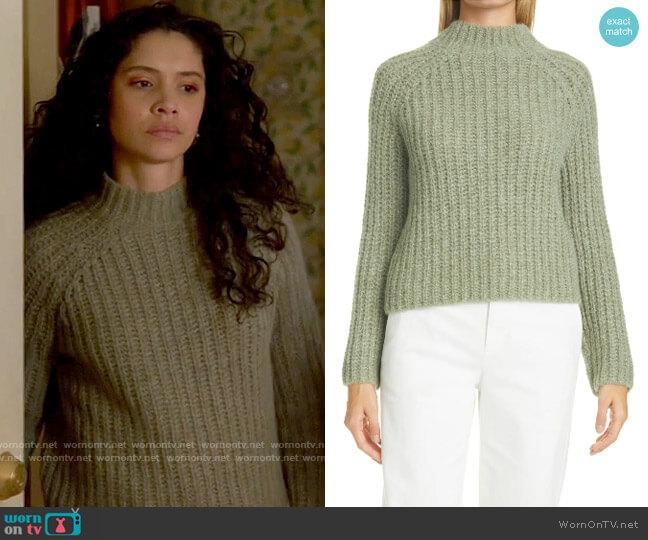 Vince Jadeite Marled Shaker Stitch Raglan Sleeve Sweater worn by Stella Kidd (Miranda Rae Mayo) on Chicago Fire