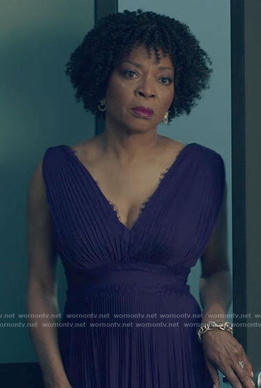 Violet's purple pleated lace-trim dress on Queen Sugar