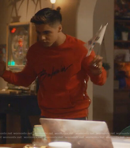 Vivek's red Balmain signature sweatshirt on Grown-ish