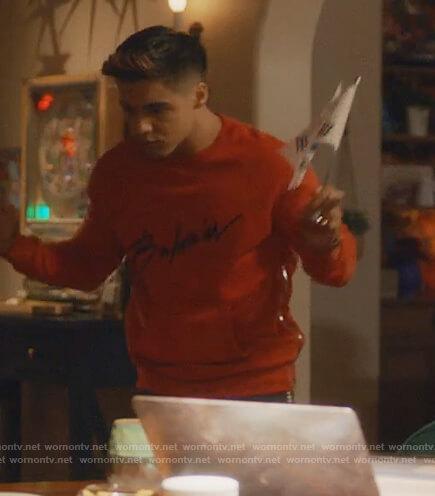 Vivek's red Balmain signature sweatshirt on Grown-ish