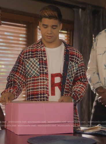 Vivek's red houndstooth shirt on Grown-ish