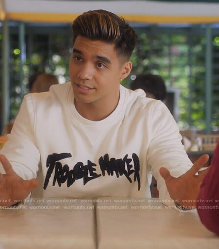 Vivek's white trouble maker sweatshirt on Grown-ish