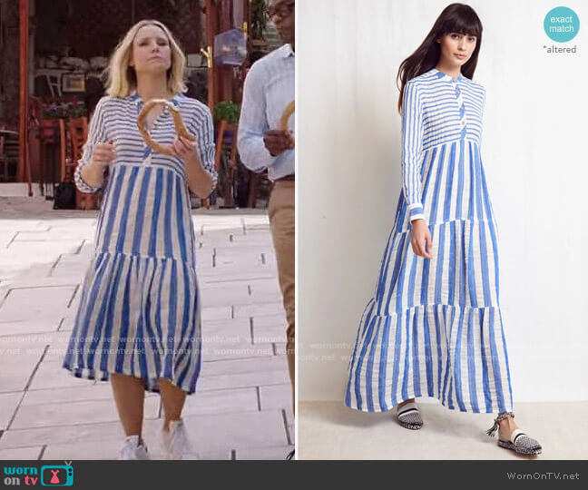 Warm Pre-Fall 2019 Striped Dress worn by Eleanor Shellstrop (Kristen Bell) on The Good Place