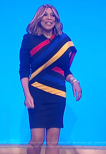 Wendy's black multicolored stripe dress on The Wendy Williams Show