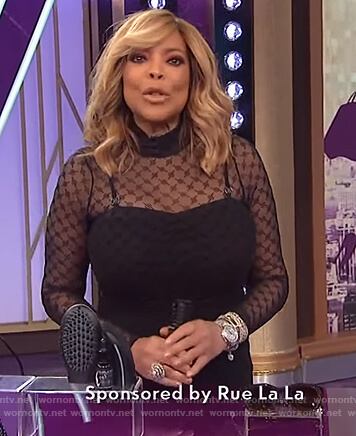 Wendy's black sheer bodysuit and dress on The Wendy Williams Show