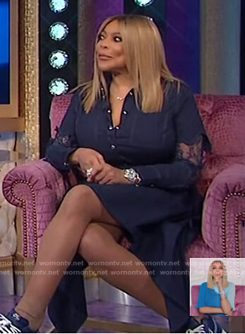 Wendy's navy shirtdress with lace sleeves on The Wendy Williams Show