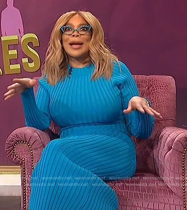 Wendy's blue ribbed midi dress on The Wendy Williams Show