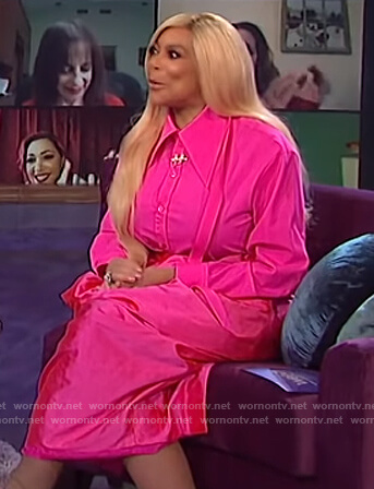 Wendy's tie neck blouse and puff skirt on The Wendy Williams Show