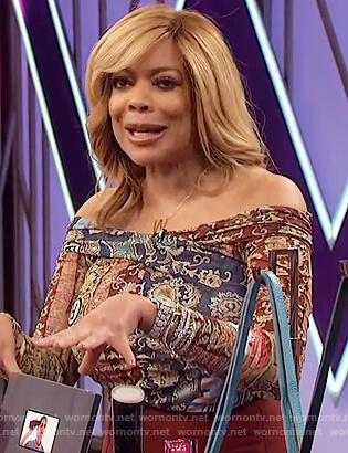 Wendy's printed ruched off shoulder top on The Wendy Williams Show