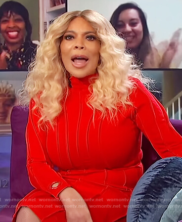 Wendy's red ribbed midi dress on The Wendy Williams Show