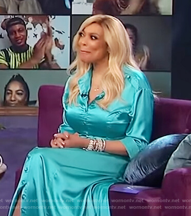 Wendy's turquoise satin dress on The Wendy Williams Show