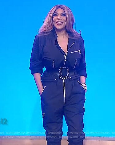 Wendy's black utility jumpsuit on The Wendy Williams Show